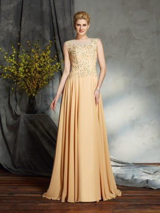 A-line High Neck Floor-length Chiffon Mother of the Bride Dress With Beading