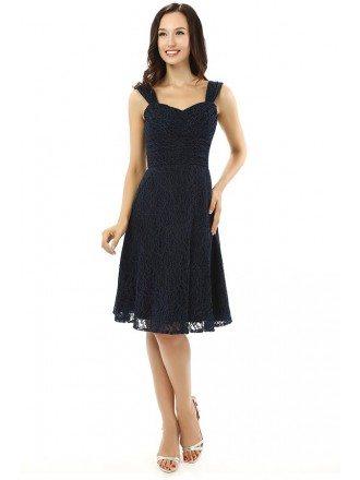 Black A-line Sweetheart Knee-length Prom Dress