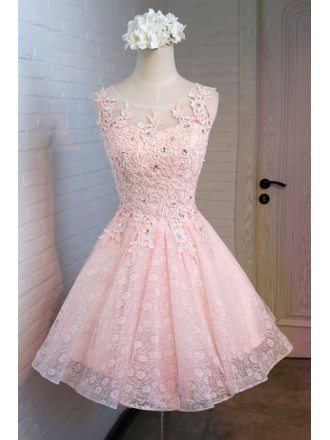 Vintage A-line Scoop Neck Short Tulle Homecoming Dress With Appliques Lace