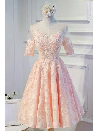 Feminine A-line Scoop Neck Tea-length Tulle Homecoming Dress With Appliques Lace