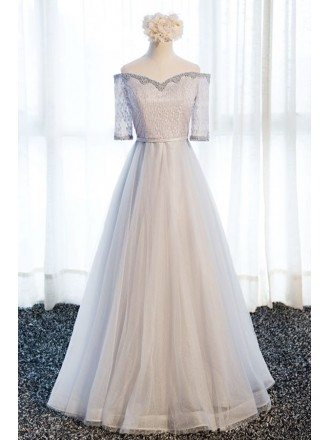 Elegant A-line Off-the-shoulder Floor-length Tulle Prom Dress With Beading