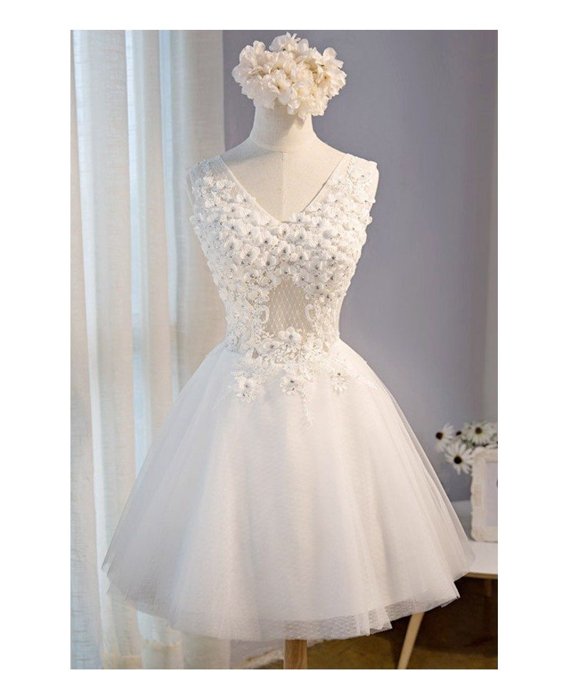 Unique Flowers Homecoming Dresses White V Neck Short Tulle With ...