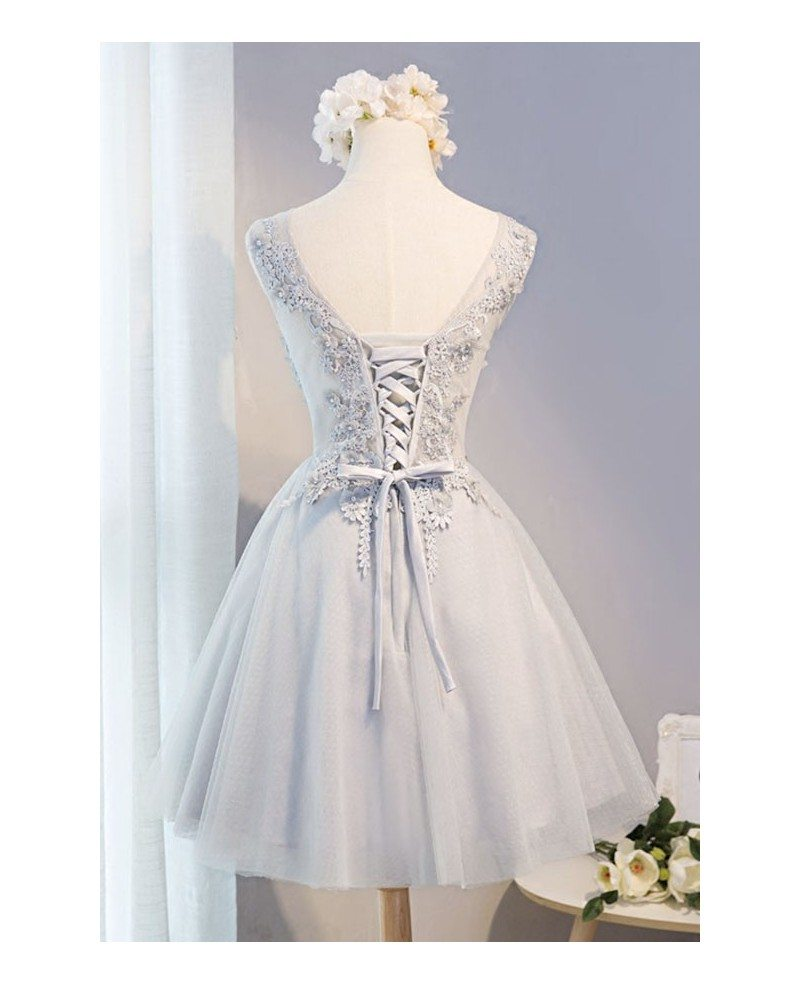 unique flowers homecoming dresses white v neck short tulle with appliques lace  md015  129 99