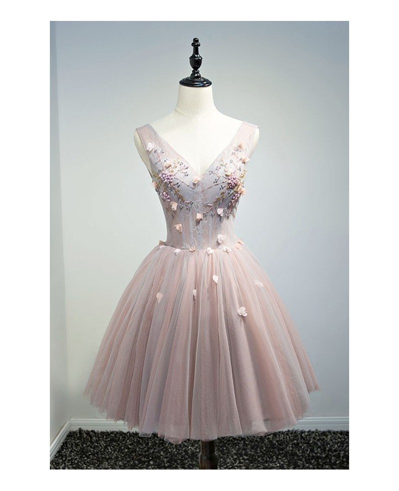 Vintage Poofy Short Tulle Homecoming Dresses for Teens Ball-gown V ...