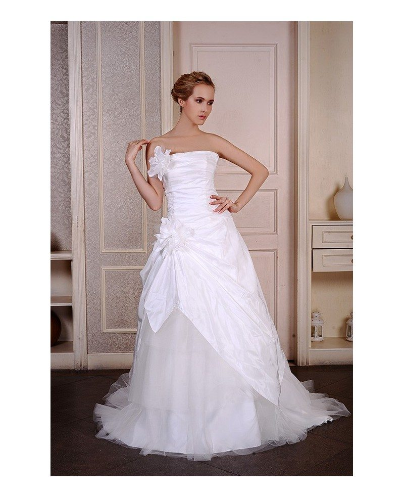 Ball-Gown Strapless Sweep Train Satin Tulle Wedding Dress