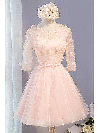Sweet Ball-gown Scoop Neck Short Tulle Homecoming Dress With Flowers
