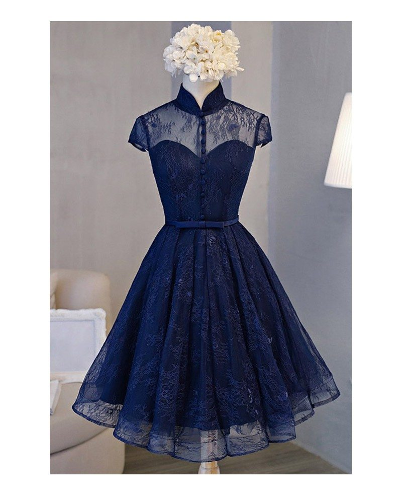 Blue Short Homecoming Dresses Vintage A-line Knee-length High Neck ...