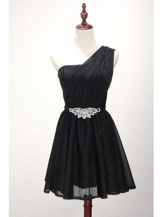 Simple A-line One-shoulder Short Sequined Homecoming Dress With Belt