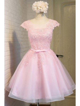 Gorgeous Pink Lace Short Tulle Party Dress with Cap Sleeves