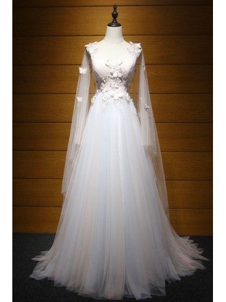 Dreamy Ball-gown V-neck Floor-length Tulle Wedding Dress With Appliques Lace