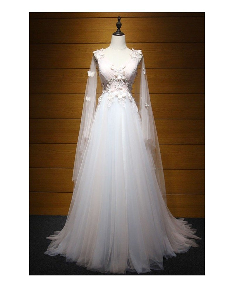 Dreamy ball gown v neck floor length tulle wedding dress for Floor length dresses