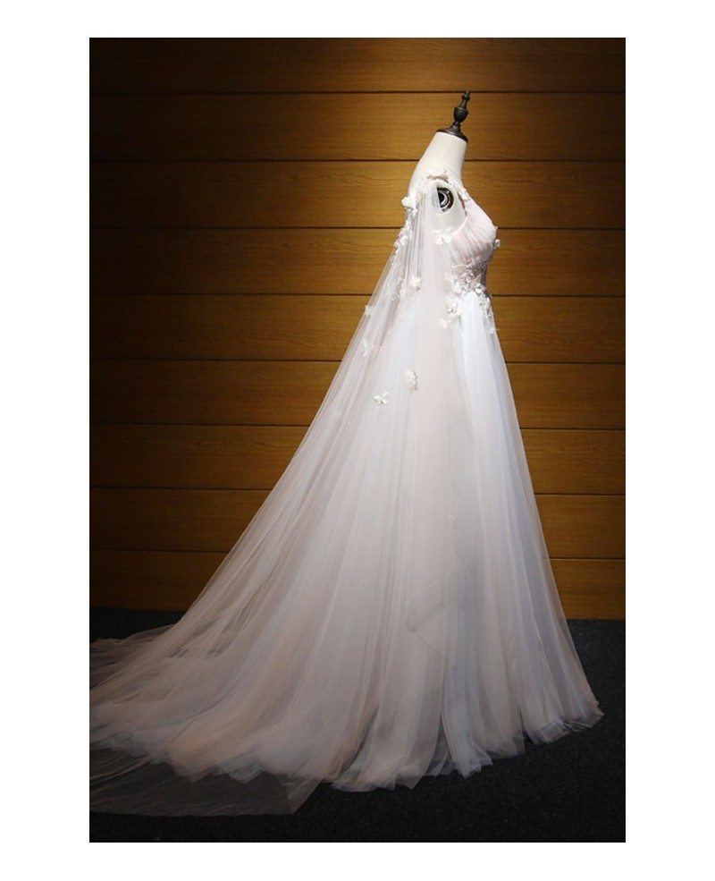 Dreamy ball gown v neck floor length tulle wedding dress for Wedding dresses with tulle