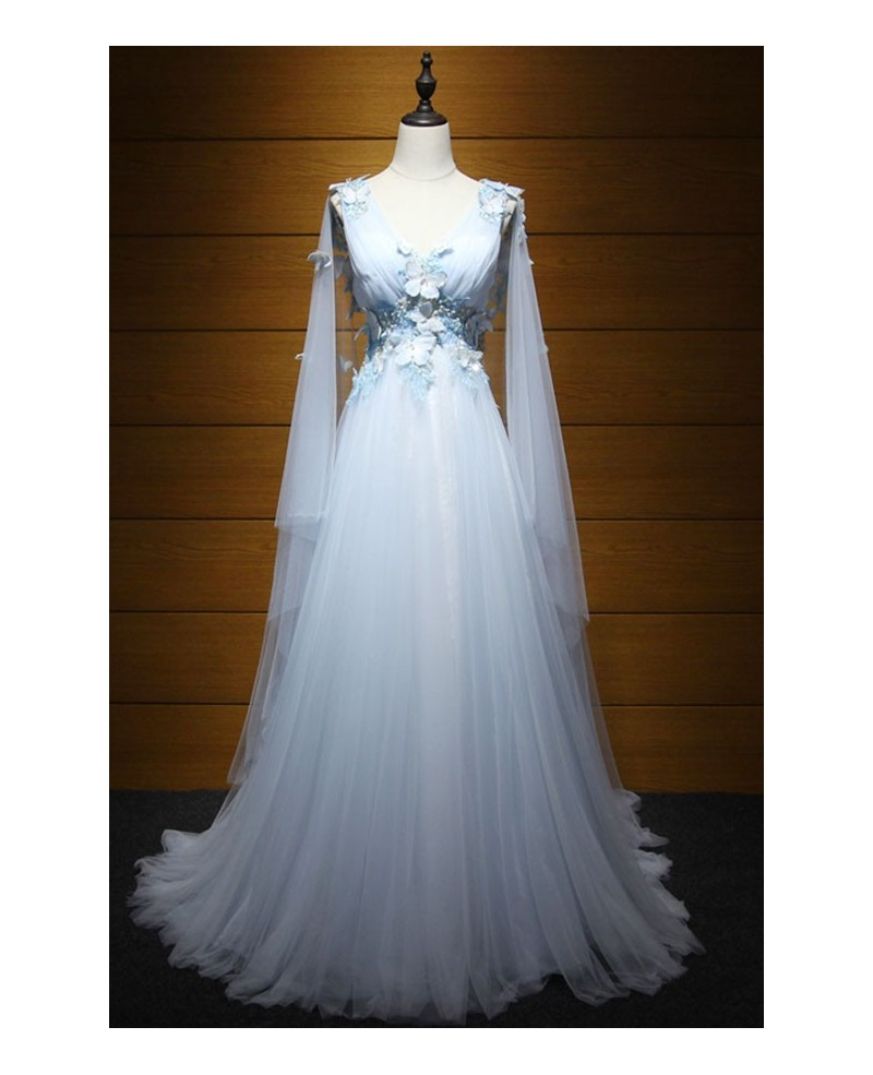 Dreamy ball gown v neck floor length tulle wedding dress for High low ball gown wedding dress