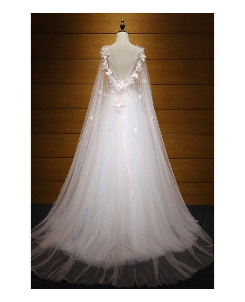 Dreamy ball gown v neck floor length tulle wedding dress for Wedding dress v neck lace