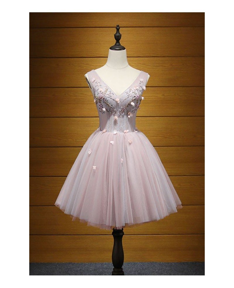 Blush Ball-gown Strapless Short Tulle Homecoming Dress With Beading ...