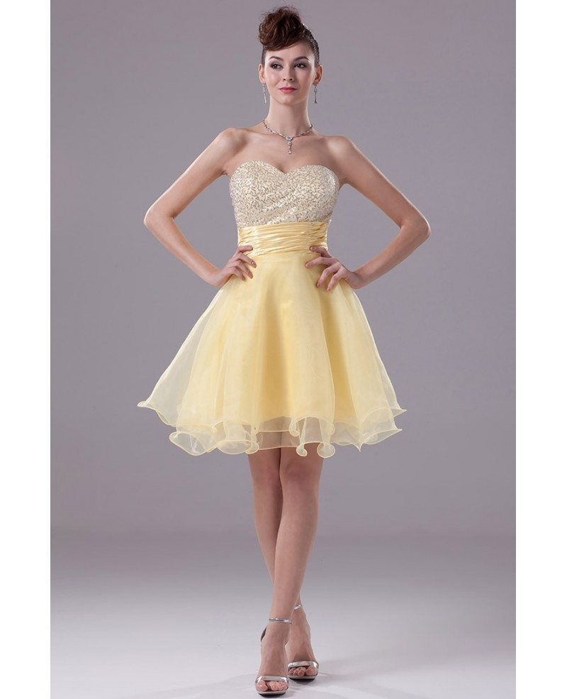 Sparkly Sequins Yellow Organza Short Prom Dress #OP4380 $113 ...