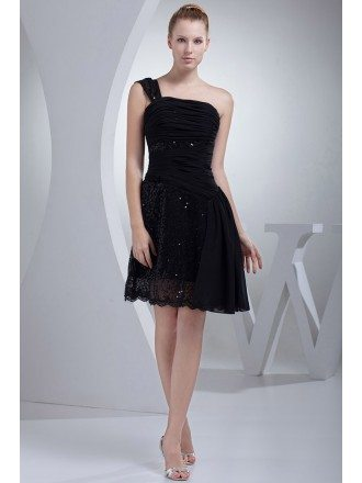 Little Black Lace One Strap Short Prom Dress
