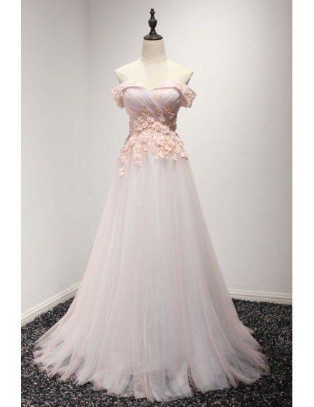 Feminine ball gown off the shoulder floor length tulle for Off the shoulder tulle wedding dress