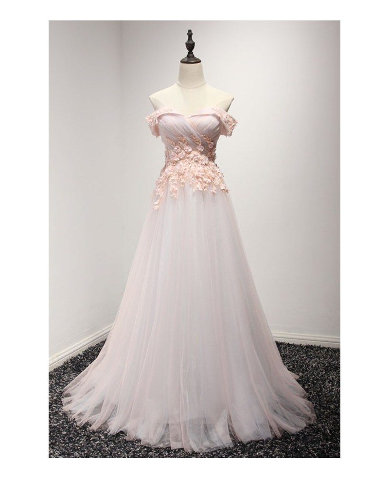 Feminine ball gown off the shoulder floor length tulle for Floor length lace wedding dress