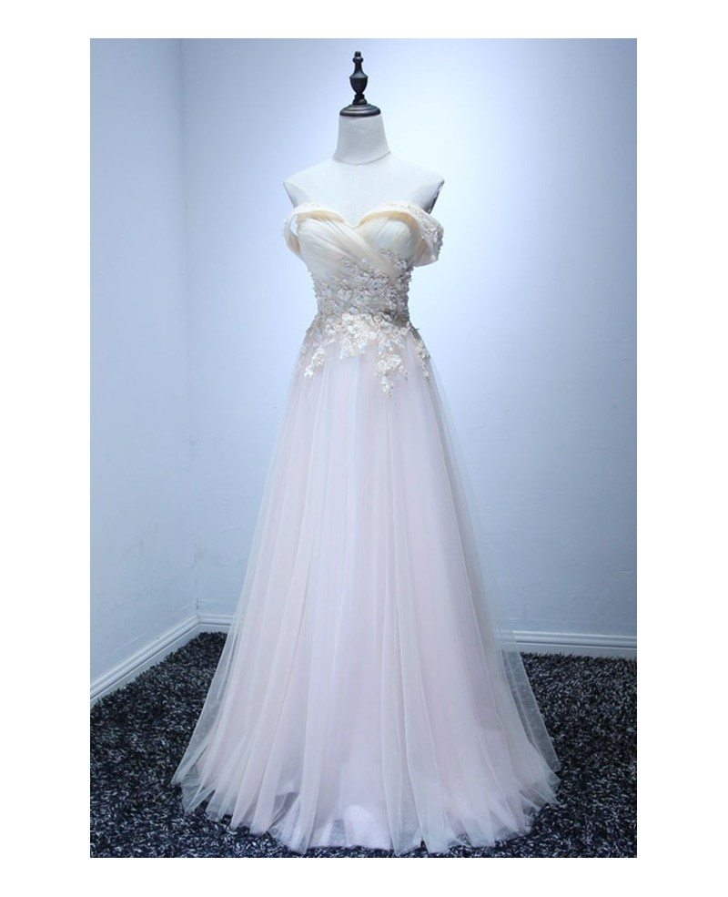 Feminine ball gown off the shoulder floor length tulle for Mid length wedding dress