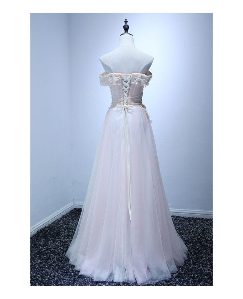 Feminine ball gown off the shoulder floor length tulle for Wedding dresses to buy off the rack