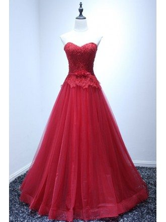 Red Ball-gown Sweetheart Floor-length Tulle Wedding Dress With Appliques Lace