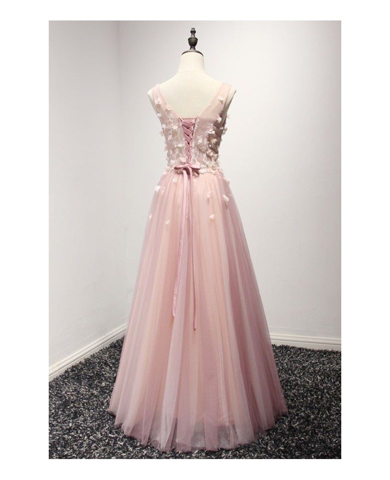 Blush A Line V Neck Floor Length Tulle Prom Dress With Flowers
