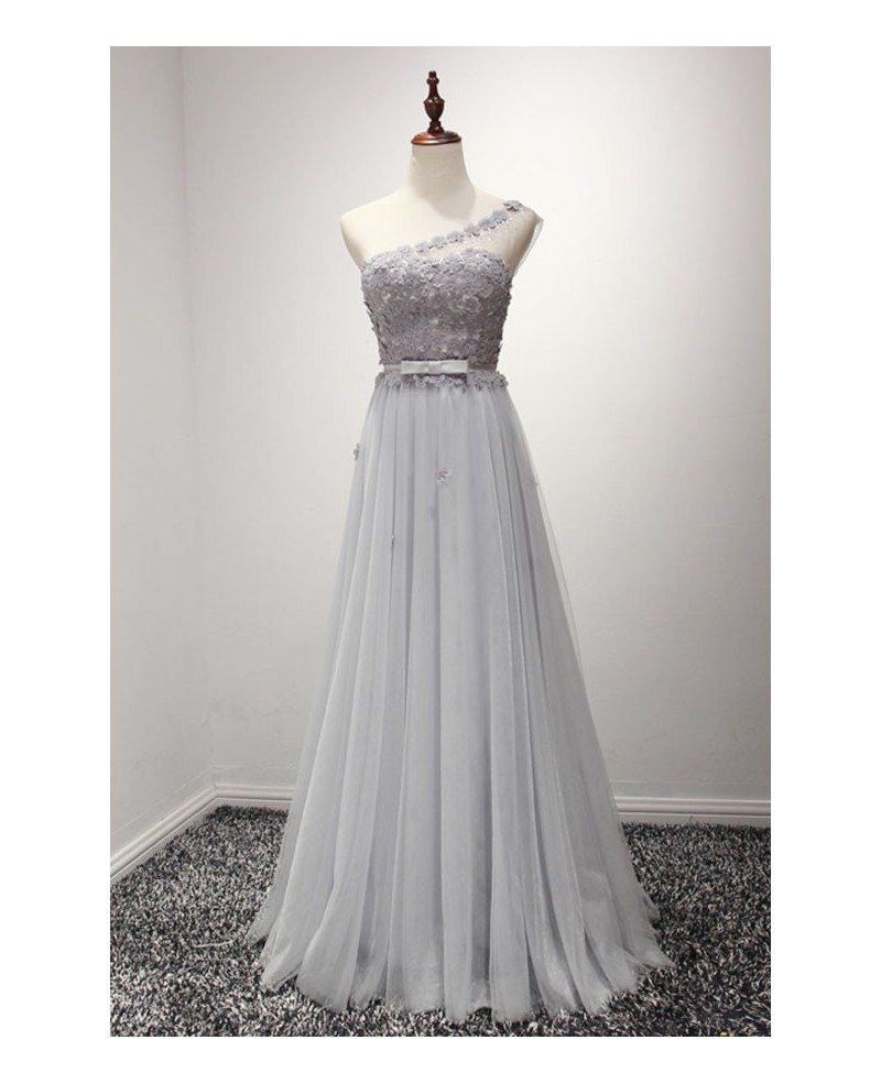 Grey A Line One Shoulder Floor Length Tulle Prom Dress With Flowers