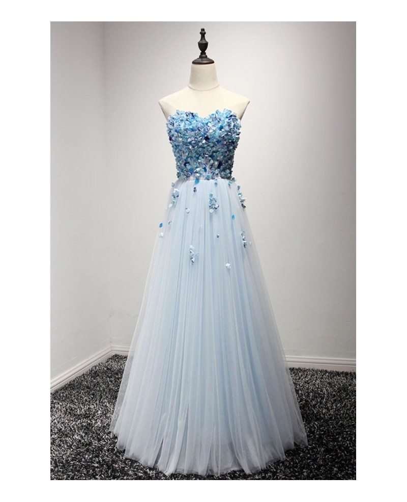 Blue Long Cheap Prom Dress Strapless A Line Poofy Tulle