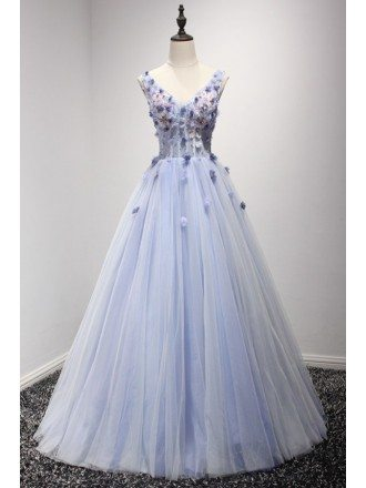 Dreamy Ball-gown V-neck Floor-length Tulle Wedding Dress With Beading