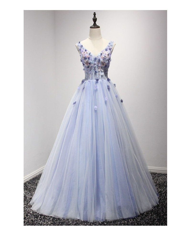 Dreamy Ball Gown V Neck Floor Length Tulle Wedding Dress