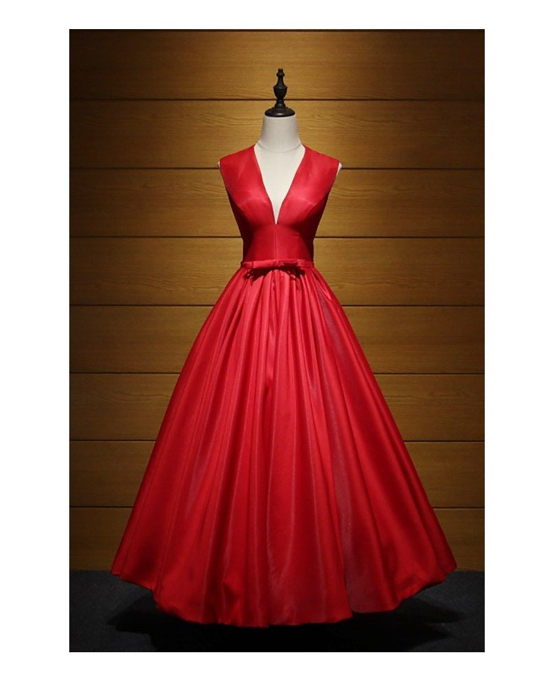 Vintage Ball-gown V-neck Ankle-length Satin Prom Dress With Open ...