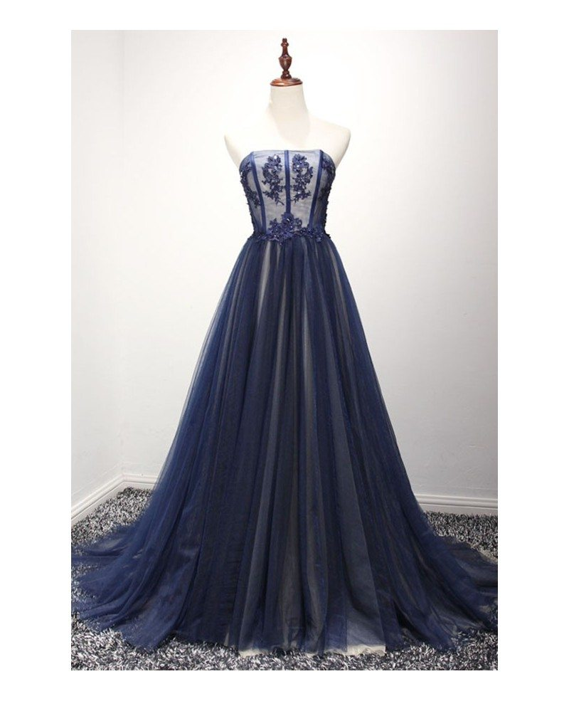 Navy Ball-gown Strapless Court Train Tulle Prom Dress With Beading ...
