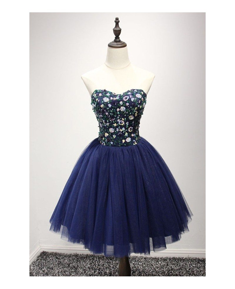 Navy Ball-gown Sweetheart Short Tulle Homecoming Dress With Beading ...