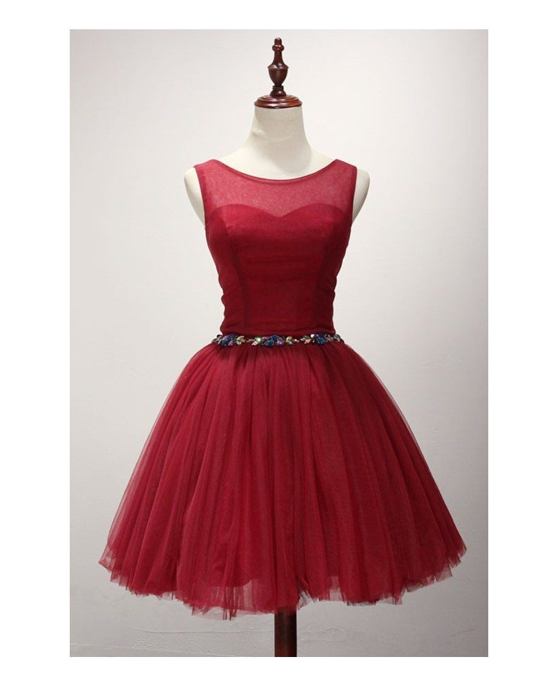 Red Ball-gown Scoop Neck Short Tulle Homecoming Dress With Beading ...