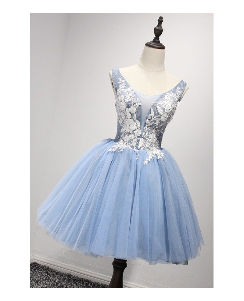Retro Ball-gown V-neck Short Tulle Homecoming Dress With Appliques ...