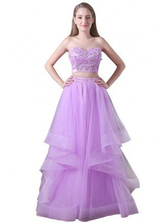 Ball-gown Two Pieces Floor-length Tulle Prom Dress With Beading