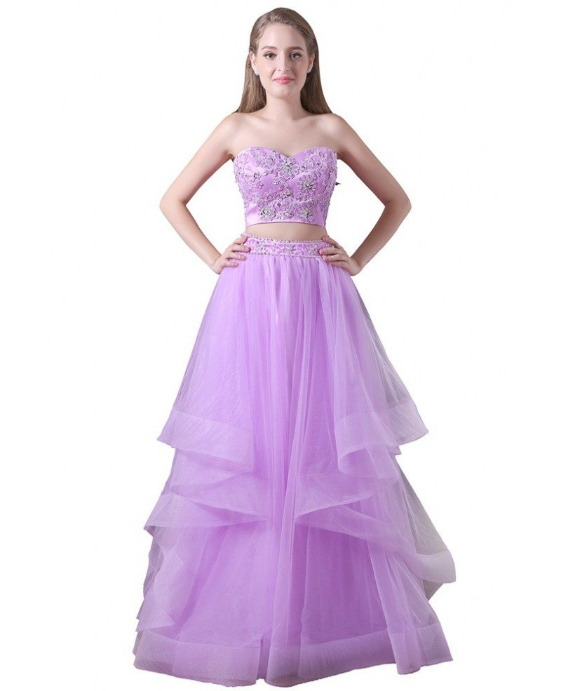 Ball-gown Two Pieces Floor-length Tulle Prom Dress With Beading ...