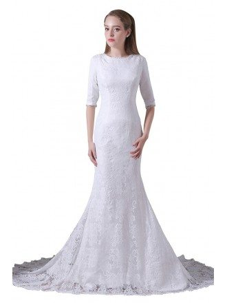 Mermaid Scoop Neck Sweep Train Lace Wedding Dress With Sleeves