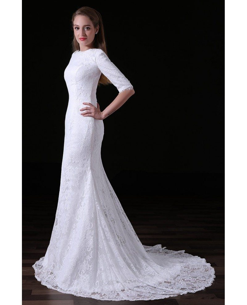 Mermaid Wedding Dresses With Sleeves: Mermaid Scoop Neck Sweep Train Lace Wedding Dress With
