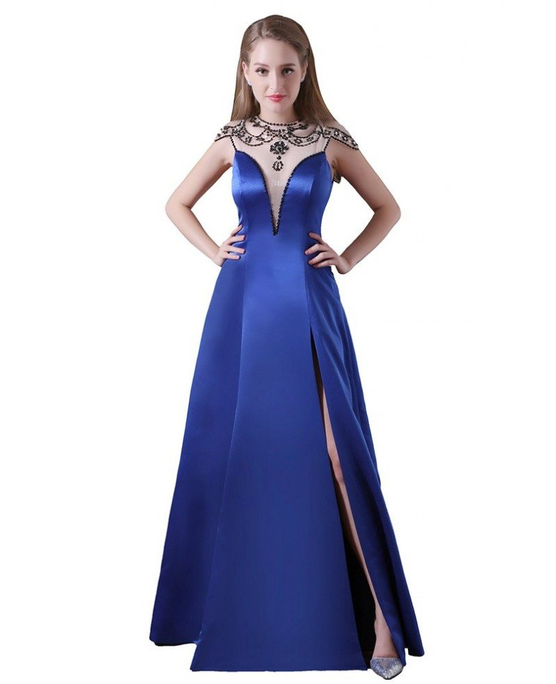 Ball gown high neck floor length satin prom dress with for Floor length dresses