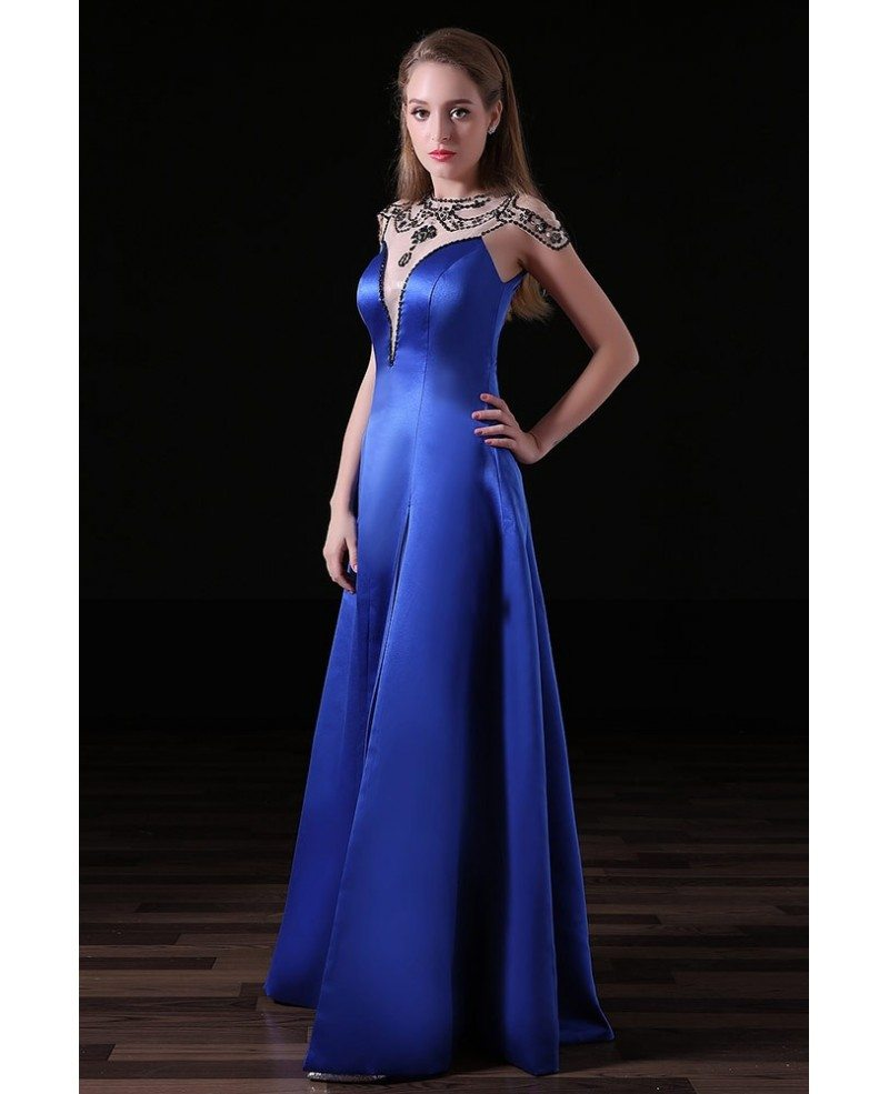 Ball-gown High Neck Floor-length Satin Prom Dress With
