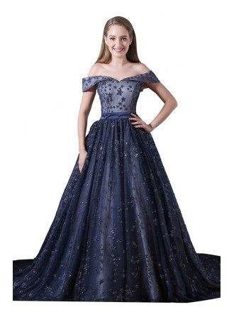 Ball-gown Off-the-shoulder Court Train Tulle Prom Dress