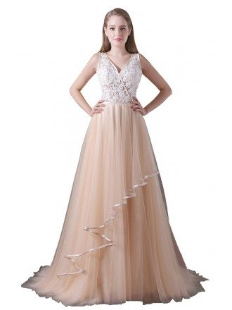 A-line V-neck Sweep Train Tulle Prom Dress With Lace