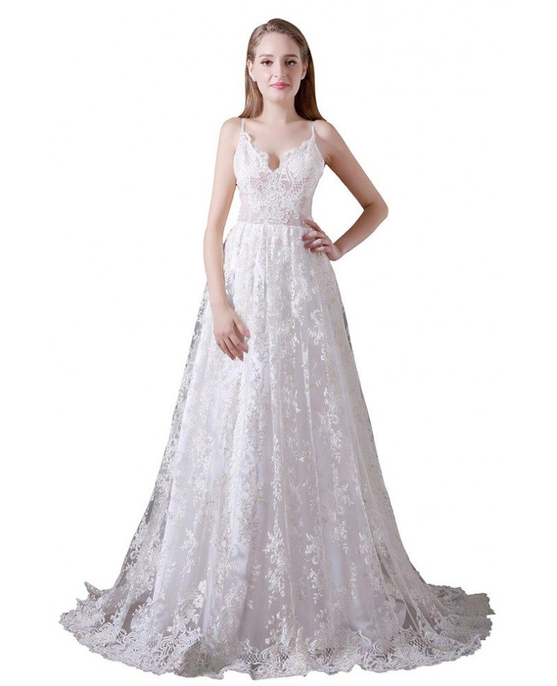 Lace Wedding Gown Open Back: Ball-gown V-neck Sweep Train Lace Wedding Dress With Open