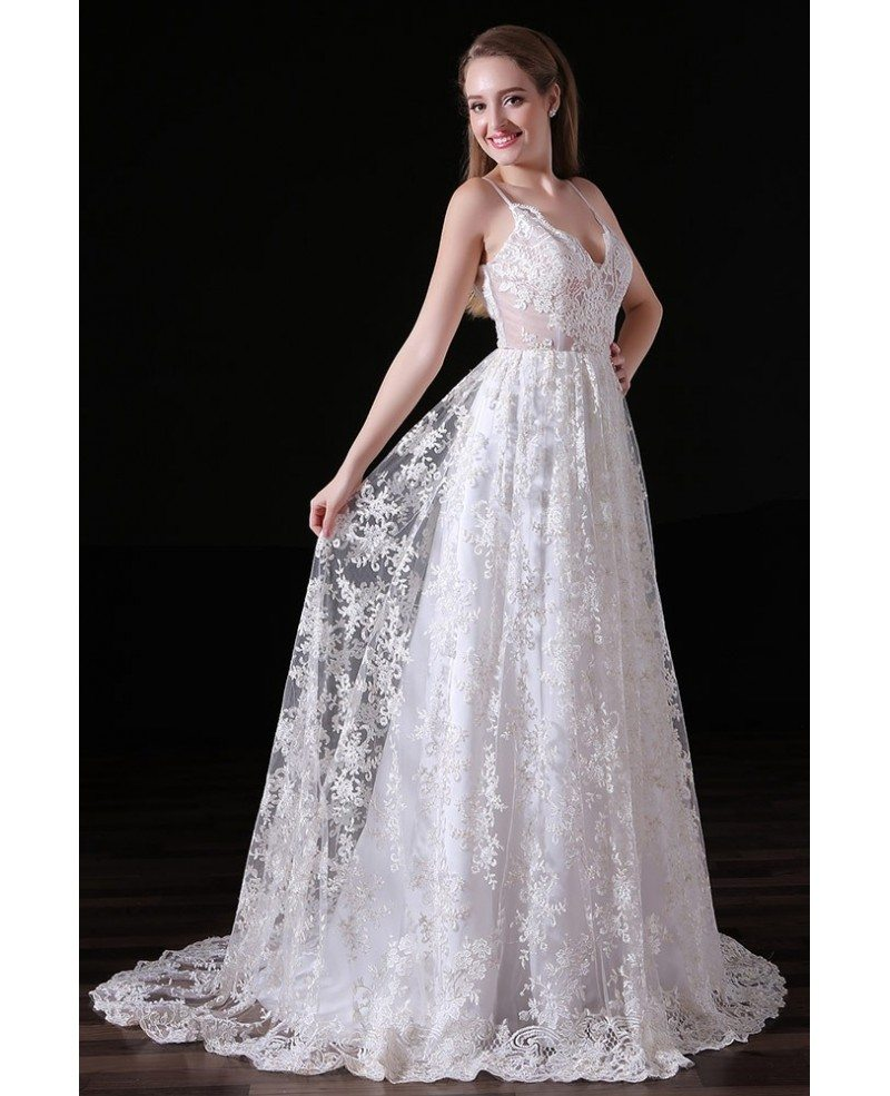 Ball gown v neck sweep train lace wedding dress with open for Open back lace wedding dress