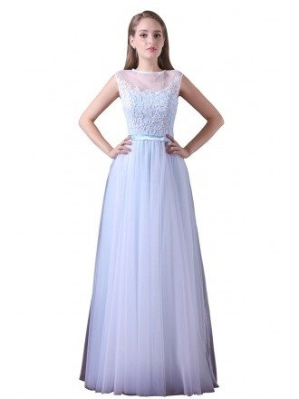 A-line Scoop Neck Floor-length Tulle Prom Dress With Lace