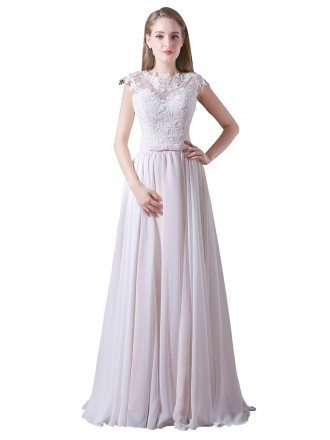 A-line High Neck Floor-length Tulle Prom Dress With Lace