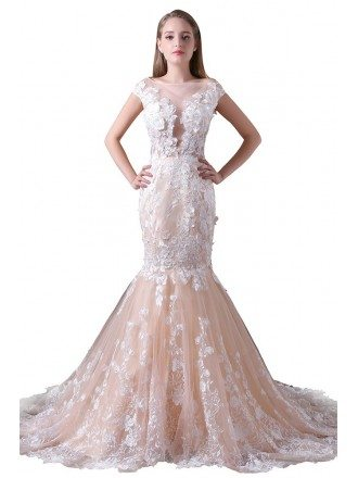 Mermaid Scoop Neck Court Train Tulle Wedding Dress With Appliques Lace