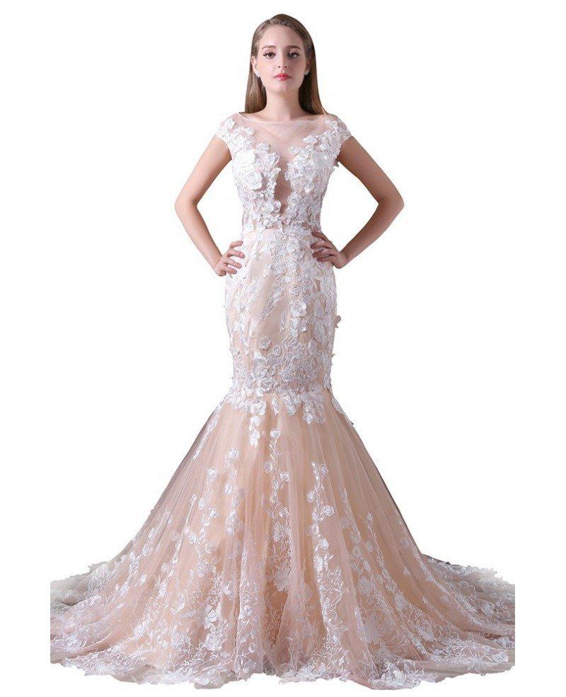 Mermaid Train: Mermaid Scoop Neck Court Train Tulle Wedding Dress With